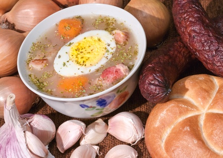Traditional sour flour-based soup with egg