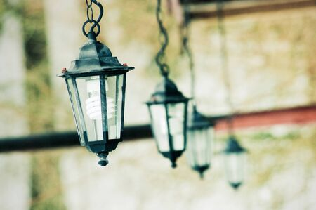 Row of lanterns with blurred background photo