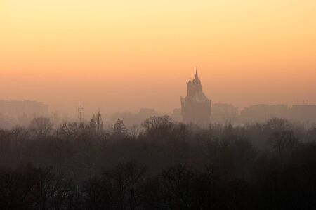 Cityscape with park and fog during the sunset photo
