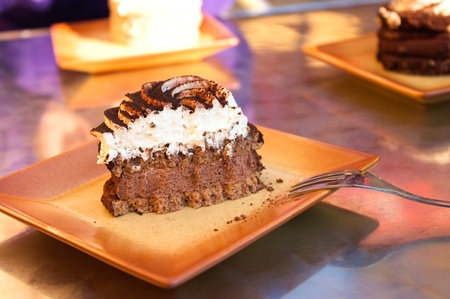 Piece of delicious cake on the plate photo