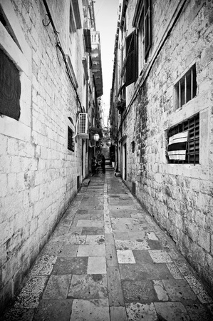 Narrow street in Dubrovnik, Croatia photo