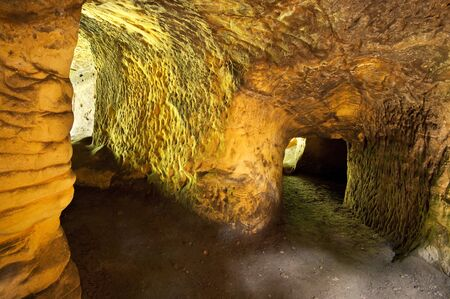 Caves under the ruins of Rotstein castle in Bohemian Paradise