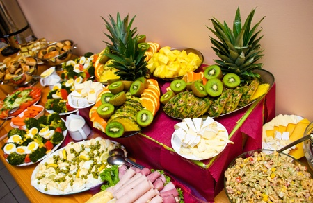 party tray: Abundance of food on the table