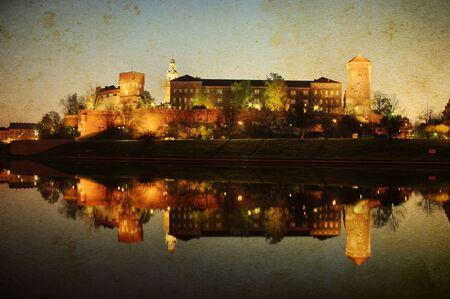 wawel: Wawel castle in Krakow in vintage style, Poland Stock Photo