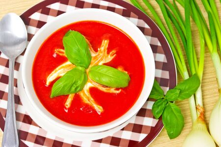 Traditional tomato soup in the bowl Stock Photo - 12204159