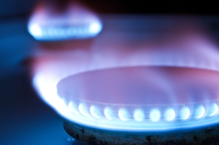 gas burner: Gas burners in the kitchen oven Stock Photo