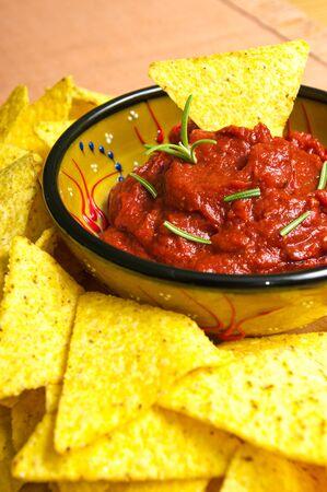 Nachos with hot tomato sauce Stock Photo - 12701977