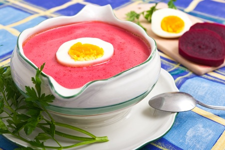 Fresh beetroot soup with egg