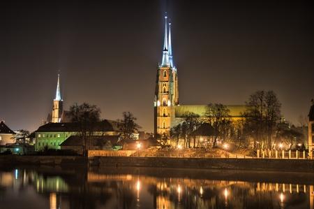 wroclaw: Ostrow Tumski in the night, Wroclaw, Poland