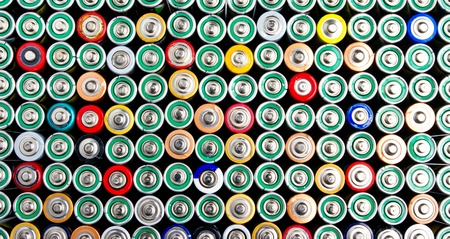 Different types of colorful batteries photo
