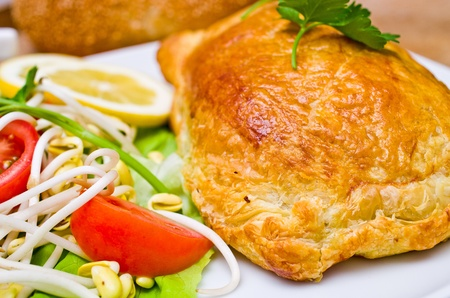 Traditional salmon in puff pastry photo