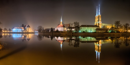 Ostrow Tumski in the night, Wroclaw, Poland photo