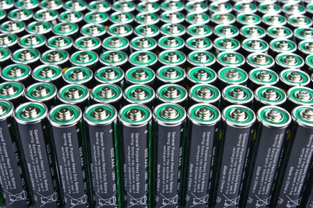Row of one types batteries photo