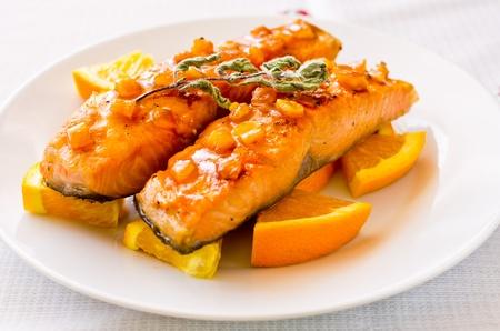 Salmon with orange and mint sauce Stok Fotoğraf - 13592760
