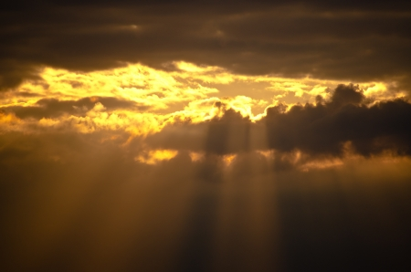Rays of the sun under the cloud photo