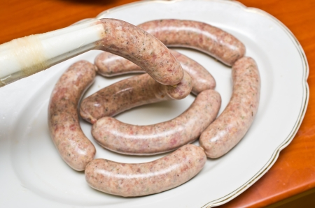 Homemade traditional sausage during the preparation