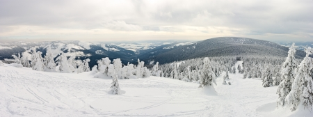 carpathian mountains: Panorama on the Snieznik Mountain slope, Poland Stock Photo