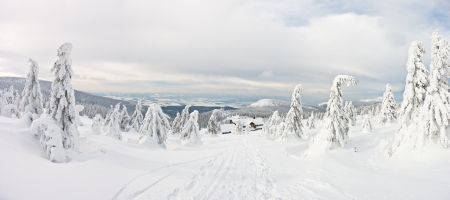 Panorama on the Snieznik Mountain slope, Poland Stock Photo