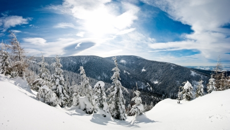 Winter panorama in the hills with view on valley photo