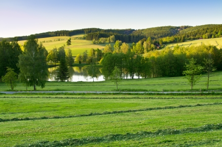 Agricultural scenery with pond and blue sky