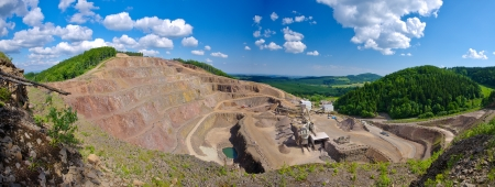 Big quarry under the blue sky