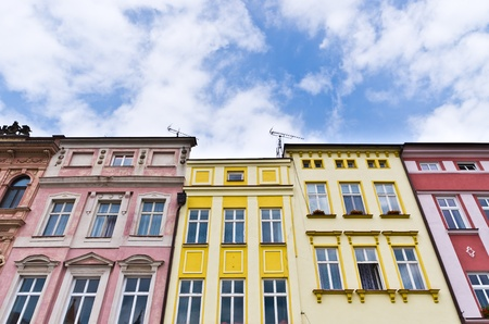 tenement: Tenement houses and blue sky