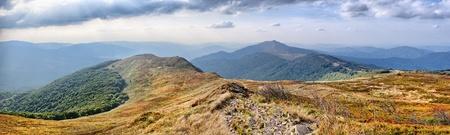 panoramics: Panoramic landscape in Carpathians mountains Stock Photo