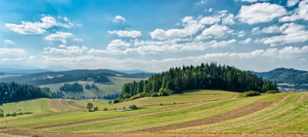 Panoramic landscape in Polish Pieniny mountains with fields on first plan photo