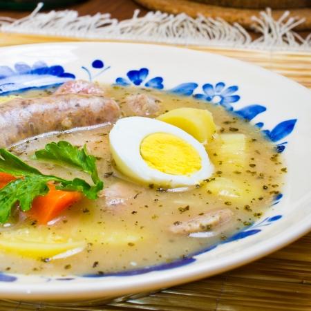 Traditional polish Zurek soup (sour-rye soup) Stockfoto