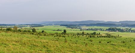 sudetes: Panorama with polish meadows in Sudetes Stock Photo