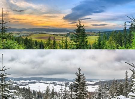 파노라마 풍경 - 두 계절 : 겨울과 여름 스톡 콘텐츠