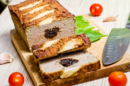 Traditional delicious pate stuffed with prunes