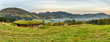 sudetes: Panorama with a tourist hut on first plan in Sudetes, Poland