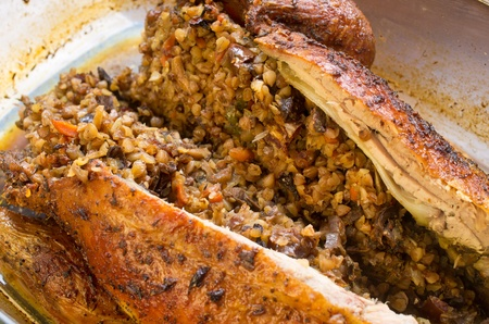 barbery: Roasted duck stuffed with buckwheat and vegetables