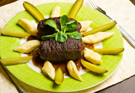 Traditional silesian beef roulades called Zrazy photo