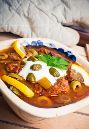 soljanka: Traditional tasty russian Soljanka soup
