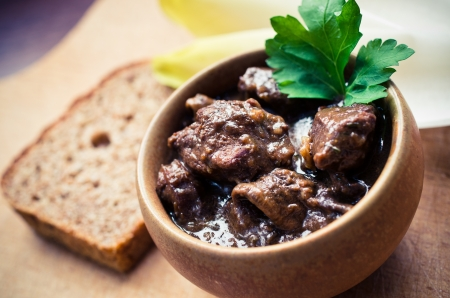 Traditional French beef bourguignon  beef stew  in the bowl
