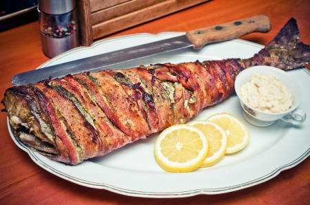 cod fish: Cod fish wrapped in bacon