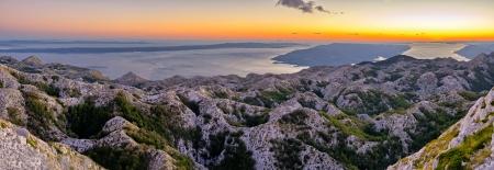 Sunset over Biokovo park mountains in Croatia photo