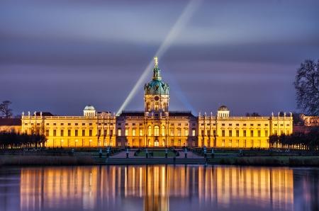 schloss: Charlottenburg palace during the night, Berlin, Germany