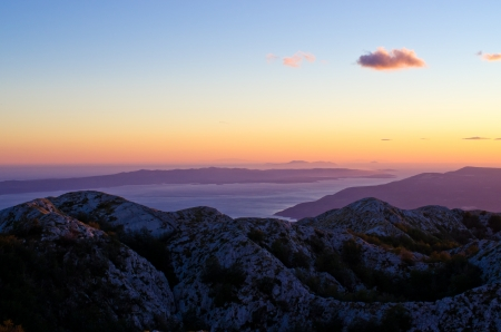 Sunset over Biokovo park mountains in Croatia