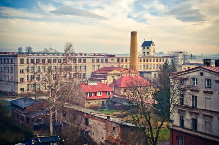 Old victorian factory in european town photo