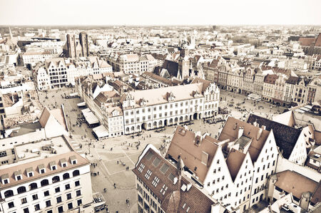 wroclaw: Old town square in Wroclaw - vintage style, Poland