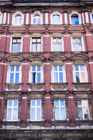 tenement: Old, made by brick, tenement house wall