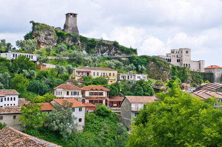 Scene with Kruja castle near Tirana in Albania Stok Fotoğraf
