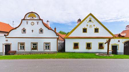 Houses in Holasovice - old Bohemian village Imagens