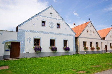 bohemia: Houses in Holasovice - old Bohemian village on heritage list