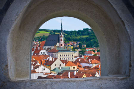 stronghold: Cesky Krumlov in the stronghold wall window - Czech Republic