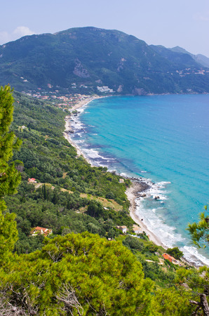 Sunny scenery near Agios Gordios town on Corfu island, Greece