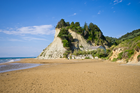 steep cliffs: Beach and steep cliffs near Agios Stefanos - Corfu island, Greece